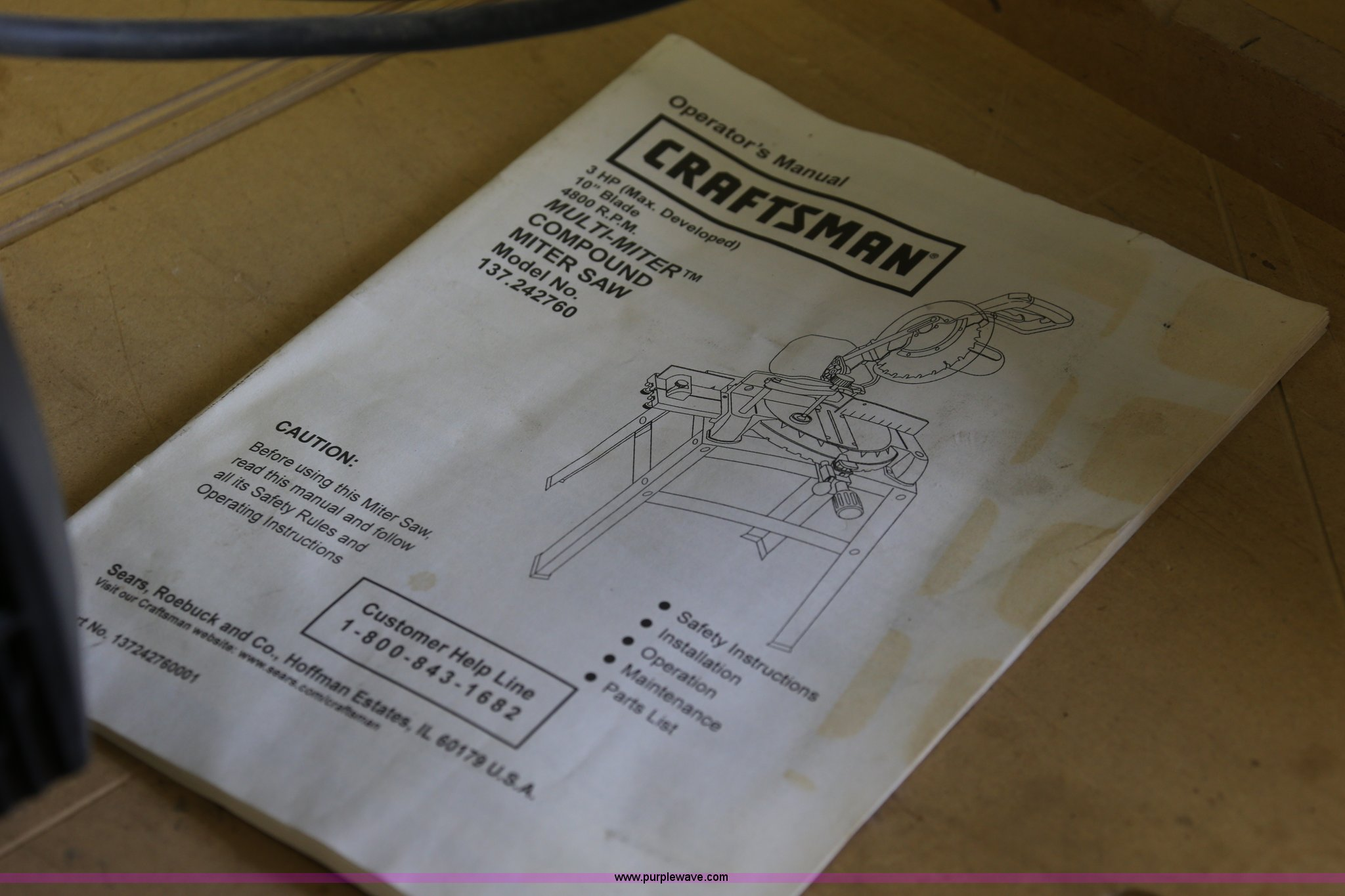 Craftsman 10 Radial Arm Saw Item E2286 Sold August 21 Compound Miter Wiring Diagram Full Size In New Window