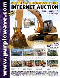 View August 23 Oklahoma/Texas Ag and Construction Equipment Auction flyer