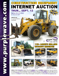 View September 12 Construction Equipment Auction flyer
