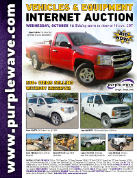 View October 16 Vehicles and Equipment Auction flyer