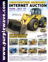 View October 17 Construction Equipment Auction flyer