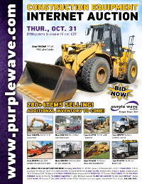 View October 31 Construction Equipment Auction flyer