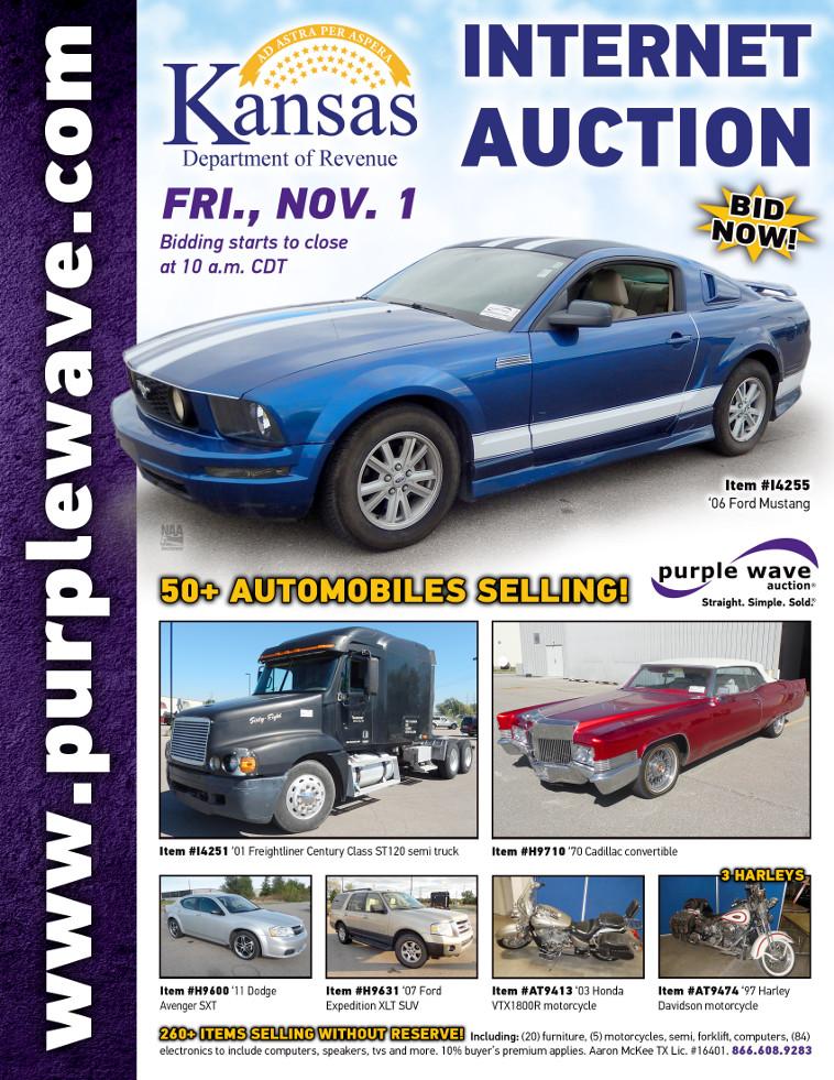 November 1 Kansas Department of Revenue Seizure Auction. Auction Flyer