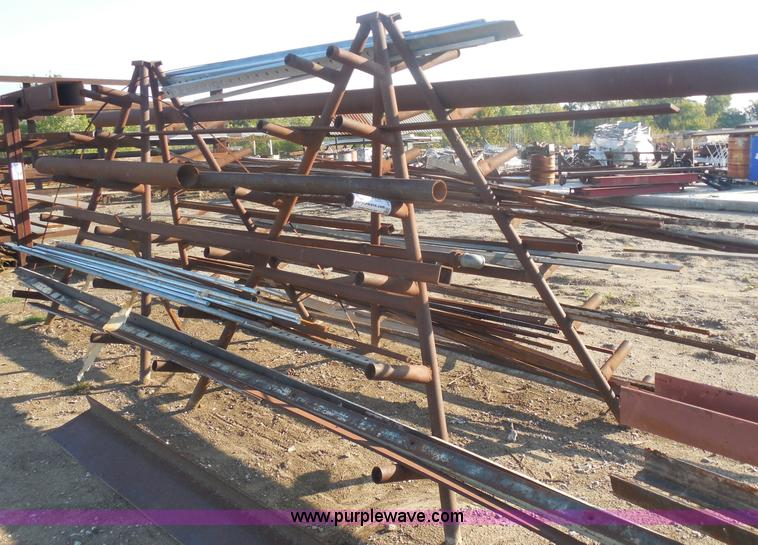 Shop built A-frame steel storage rack with assorted steel | ...