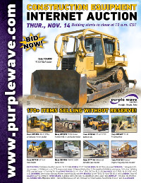 View November 14 Construction Equipment Auction flyer
