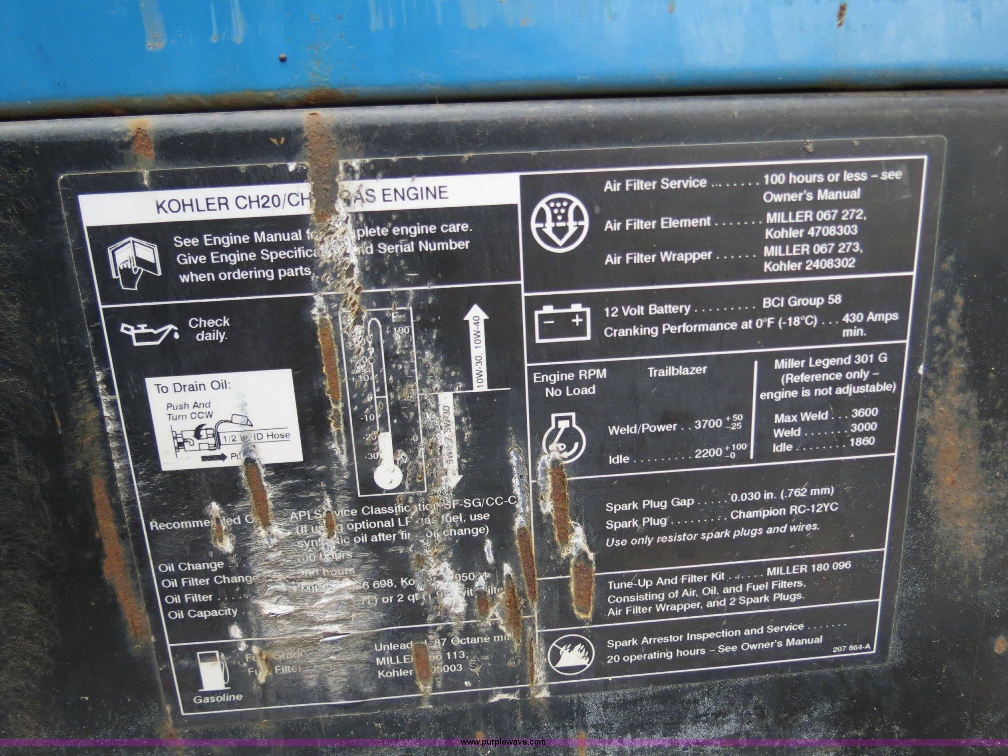2002 Miller Trailblazer 301G welder/generator   Item B4776  ... on hobart champion 10000 cover, hobart champion 10000 parts, hobart champion 10000 fuel pump,