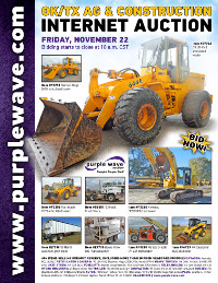View November 22 Oklahoma/Texas Ag and Construction Equipment Auction flyer
