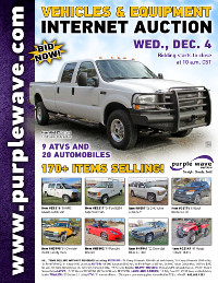 View December 4 Vehicles and Equipment Auction flyer