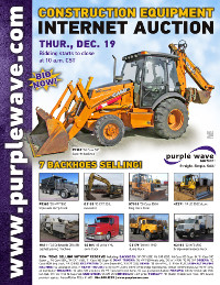 View December 19 Construction Equipment Auction flyer