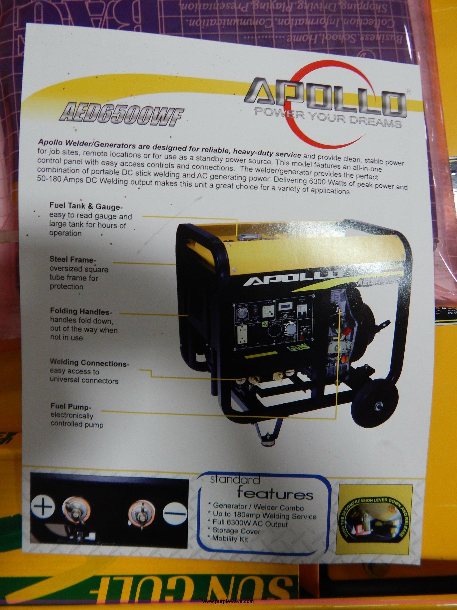 Apollo AED6500WF welder generator Item AO9207