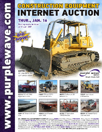 View January 16 Construction Equipment Auction flyer
