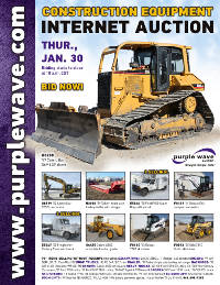 View January 30 Construction Equipment Auction flyer