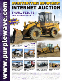 View February 13 Construction Equipment Auction flyer