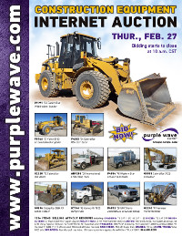View February 27 Construction Equipment Auction flyer