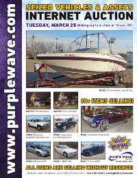View March 25 Seized Vehicles and Assets Auction flyer