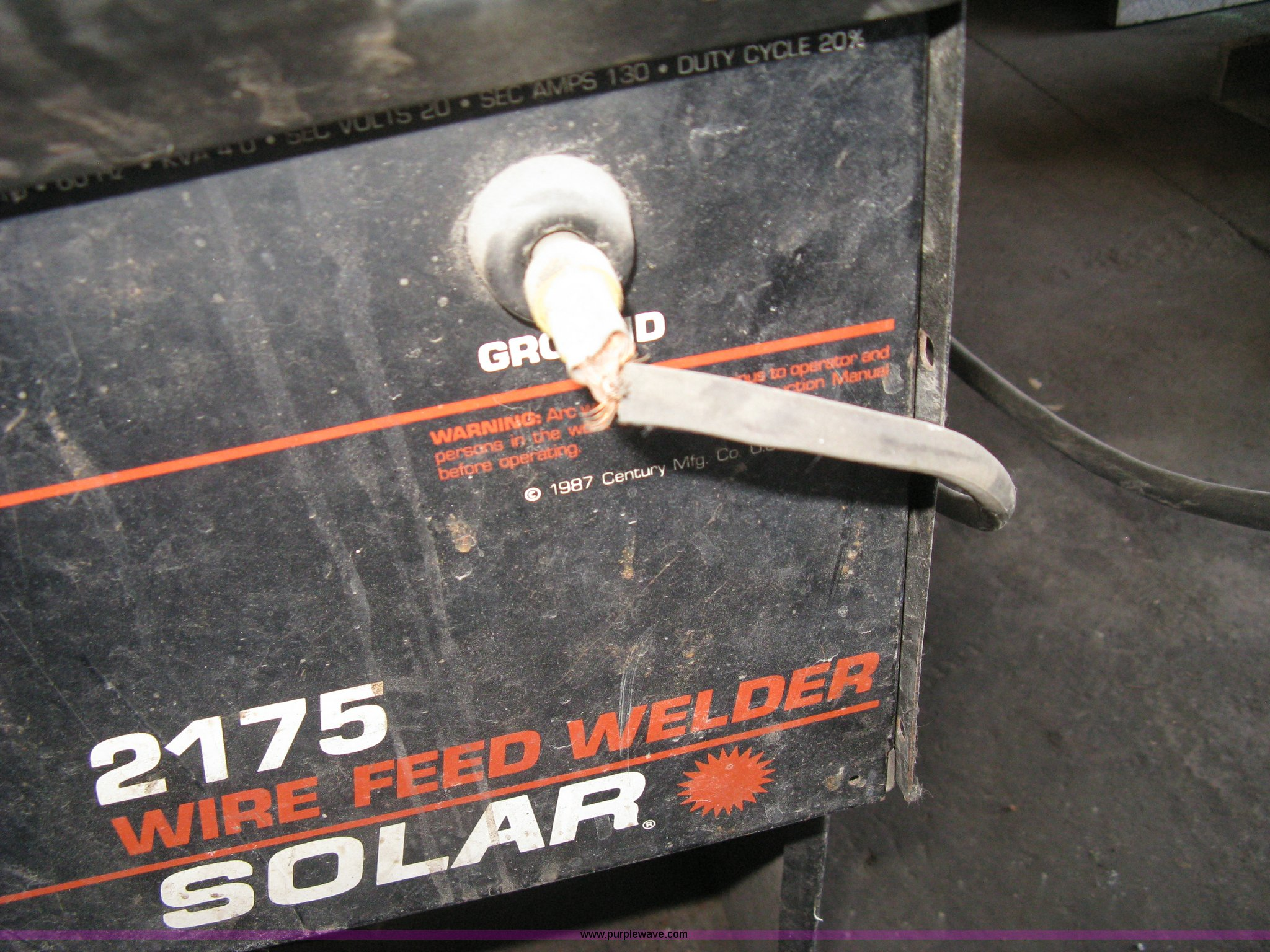 Solar 2175 wire feed welder   Item AX9917   SOLD! April 10 C... on solar brand welders, solar welders parts list, solar mig,