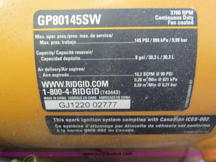 Rigid GP80145SW mobile air compressor | Item AC9947 | SOLD!