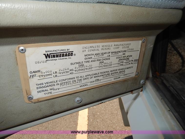 1988 Chevrolet P30 Winnebago Itasca Windcruiser RV | Item I9