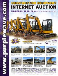 View April 24 Construction Equipment Auction flyer