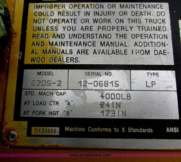 Daewoo G205-2 forklift   Item E5314   SOLD! April 24 Constru