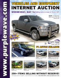 View May 14 Vehicles and Equipment Auction flyer