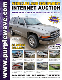 View May 28 Vehicles and Equipment Auction flyer