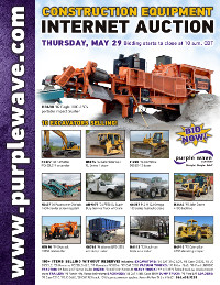 View May 29 Construction Equipment Auction flyer