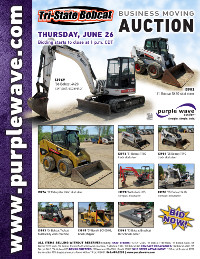 View June 26 Tri-State Bobcat Business Moving Auction flyer