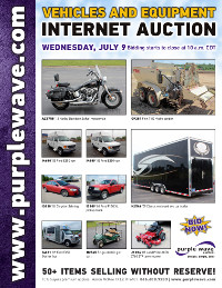 View July 9 Vehicles and Equipment Auction flyer