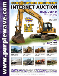 View July 31 Construction Equipment Auction flyer