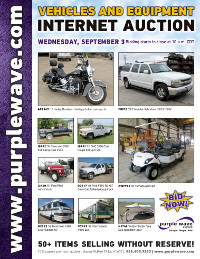 View September 3 Vehicles and Equipment Auction flyer