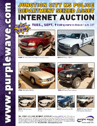 View September 9 Junction City KS Police Department Seized Asset Auction flyer