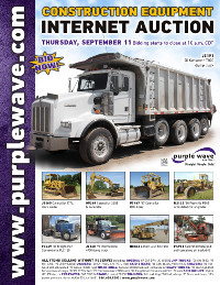 View September 11 Construction Equipment Auction flyer