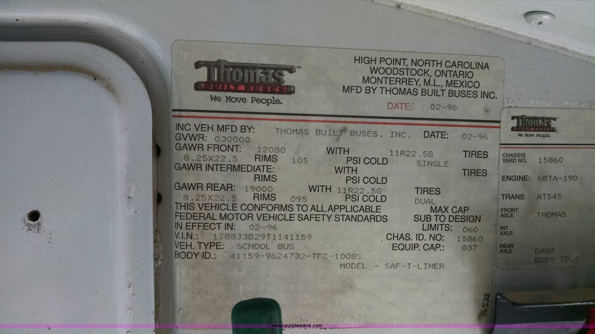 1996 Thomas Built school bus | Item AY9490 | SOLD! October 2