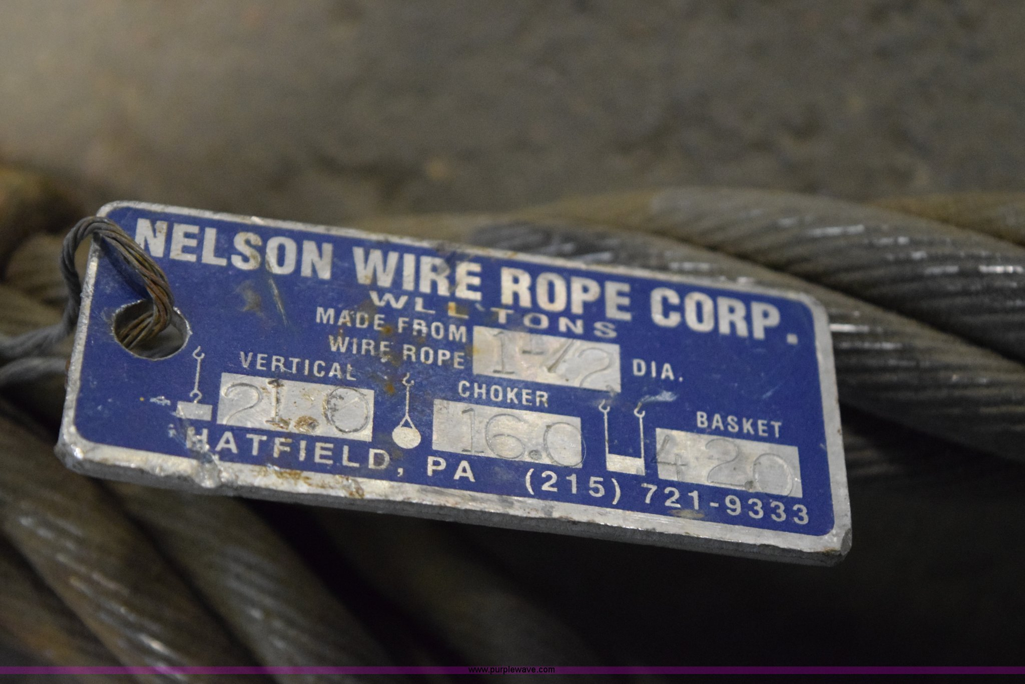 2) Nelson wire rope chokers | Item BE9709 | SOLD! January 1...