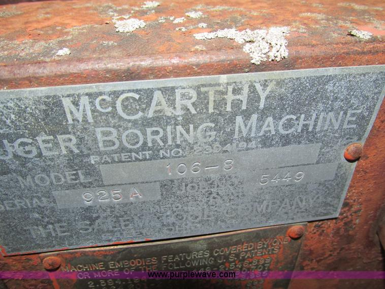 Salem Tool Co  McCarthy auger boring machine | Item I4087 |