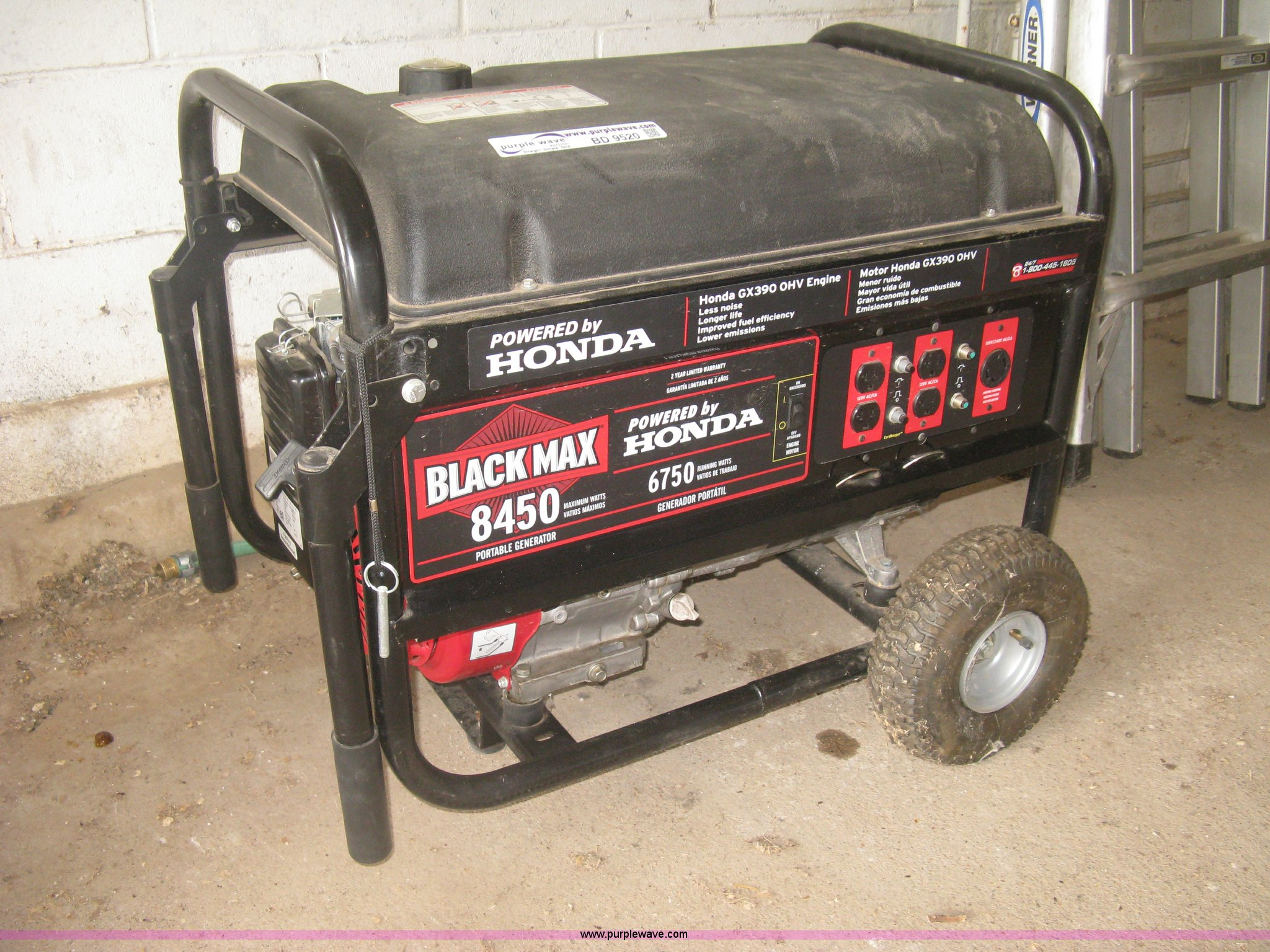 Black Max 8450 generator Item BD9520