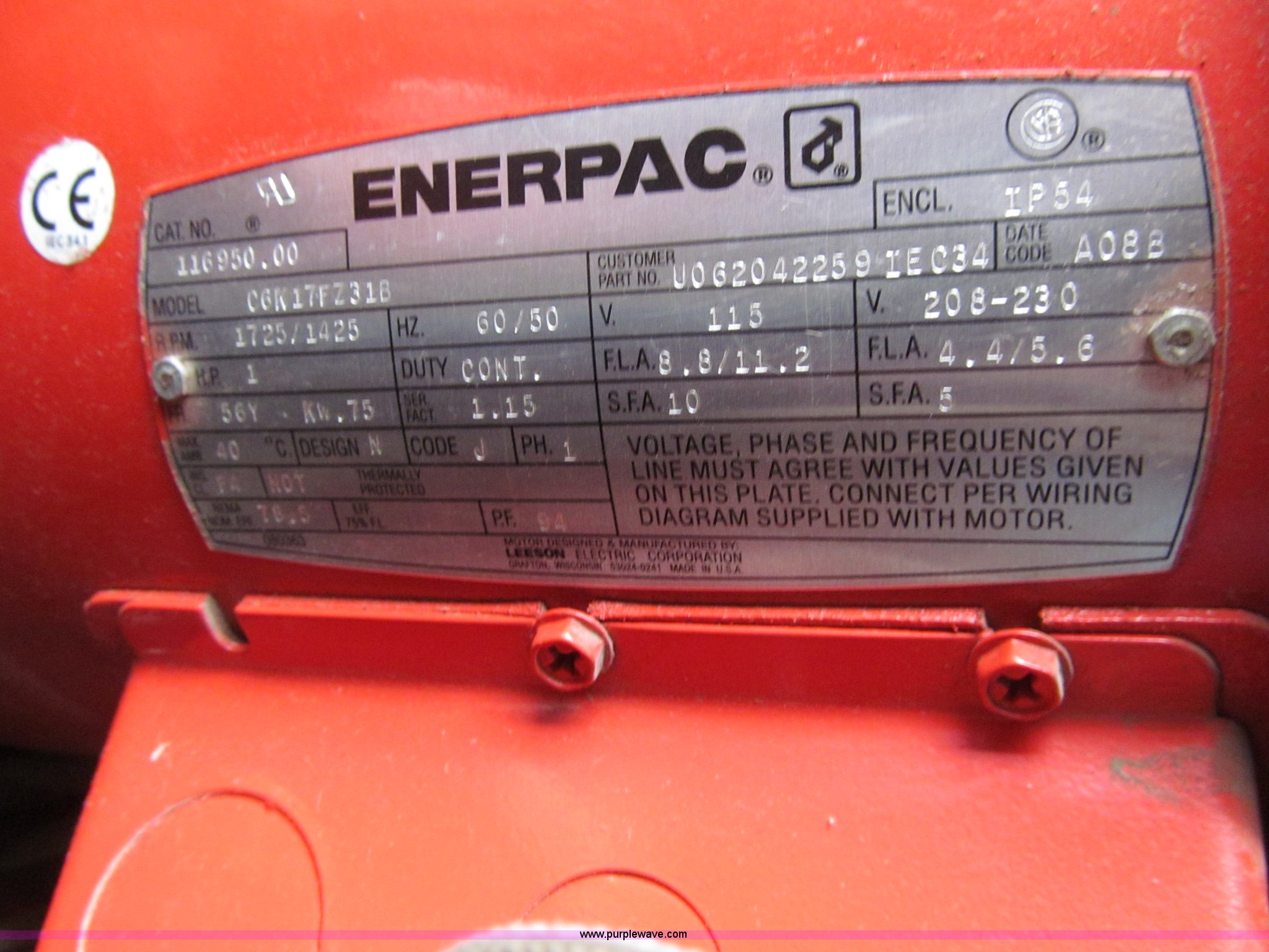 Norco Electric Hydraulic Ram Item J3337 Sold March 11 V Enerpac Wiring Diagram Full Size In New Window
