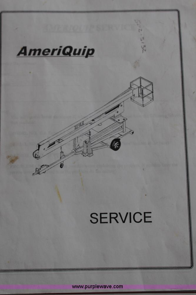 k6999 image for item k6999 1999 ameriquip eagle 42 towable boom lift