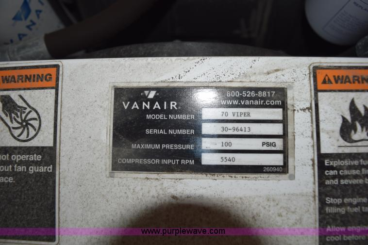 Vanair viper 70 air compressor item bi9381 sold septemb bi9381 image for item bi9381 vanair viper 70 air compressor asfbconference2016