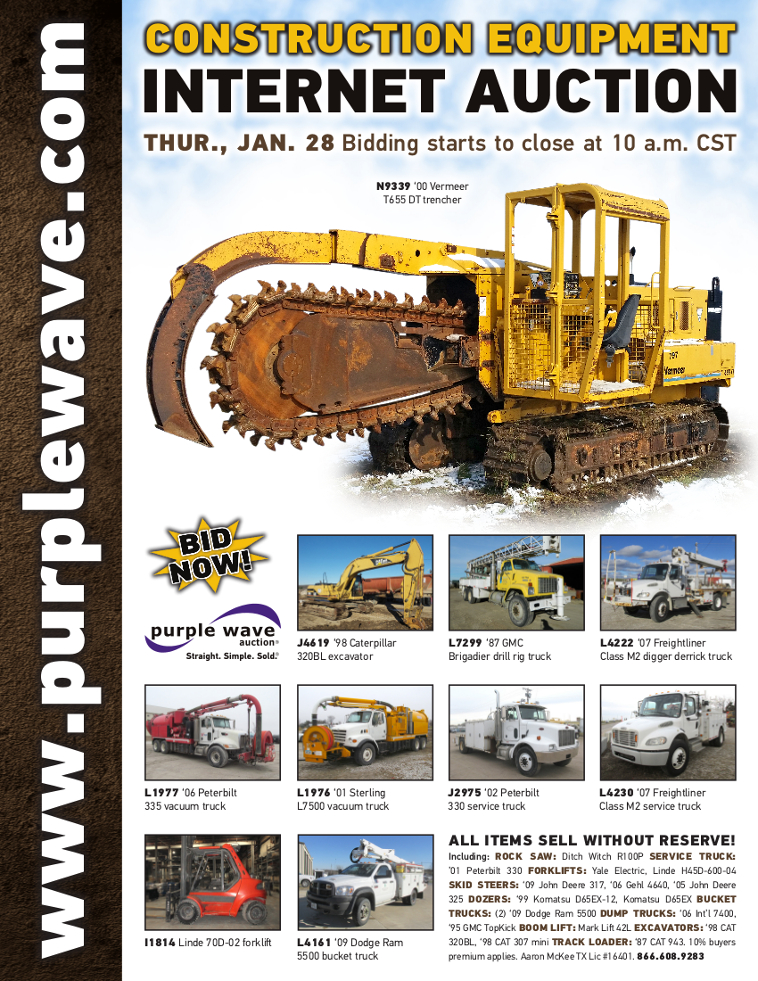 SOLD! January 28 Construction Equipment Auction   PurpleWave