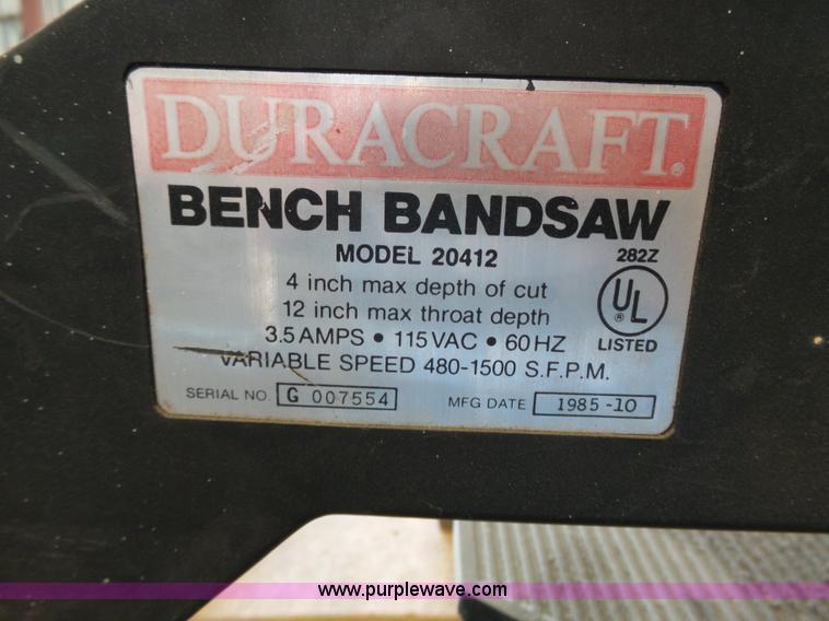 1985 Duracraft Bandsaw Item BE9876 SOLD April 5 Governm