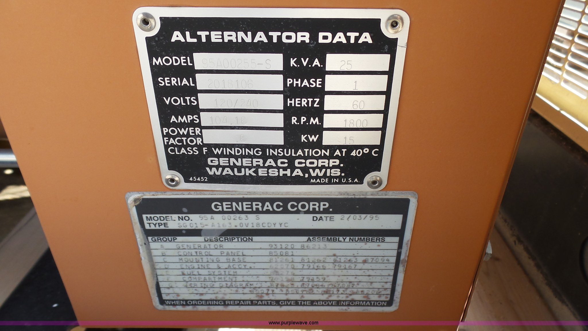 1995 Generac 95A00255-S generator | Item K4712 | SOLD! June