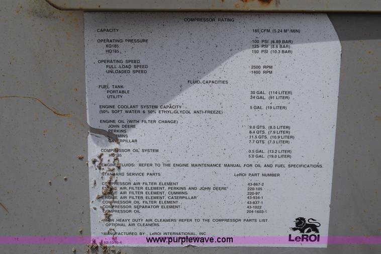 1995 Leroi Q185DJE Air Compressor Item K2927 SOLD Augus