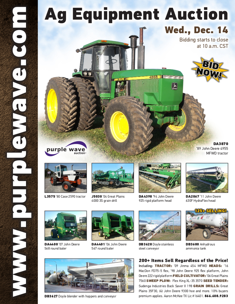 SOLD! December 14 Ag Equipment Auction | PurpleWave, Inc