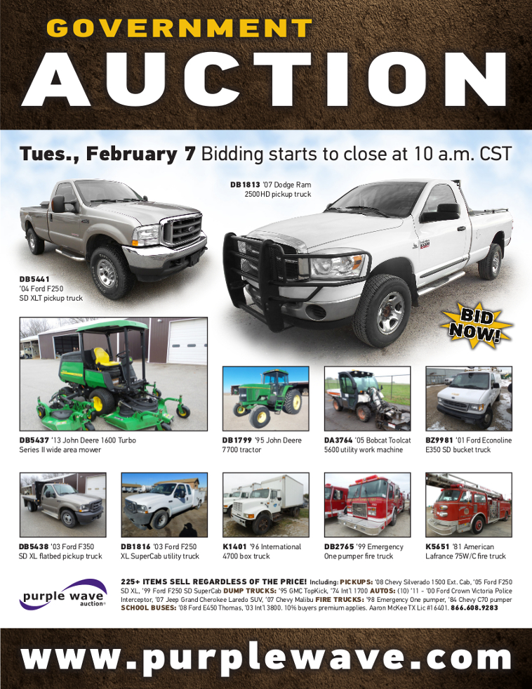 SOLD! February 7 Government Auction | PurpleWave, Inc