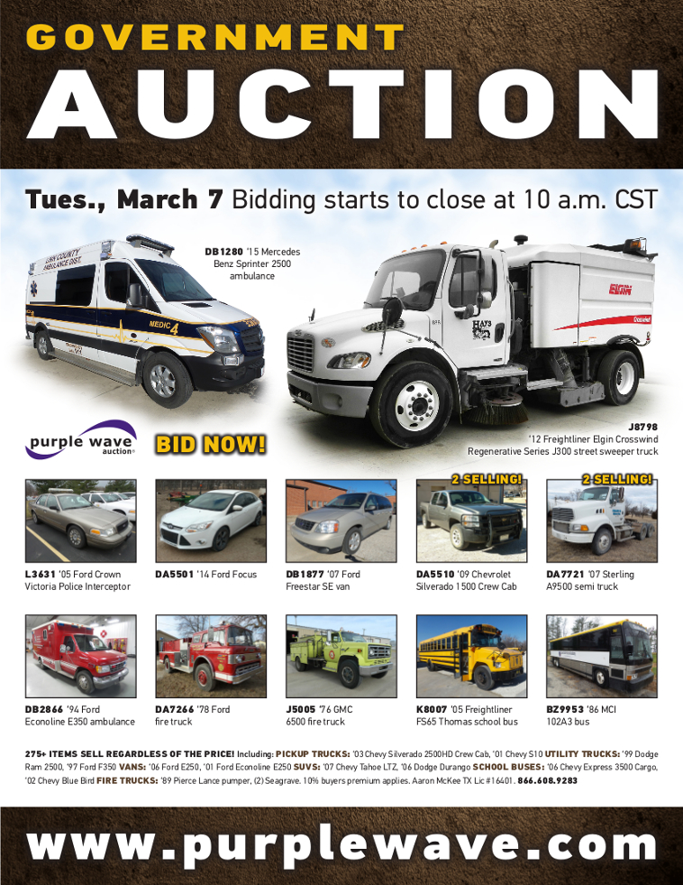 Government Vehicles For Sale >> Sold March 7 Government Auction Purplewave Inc