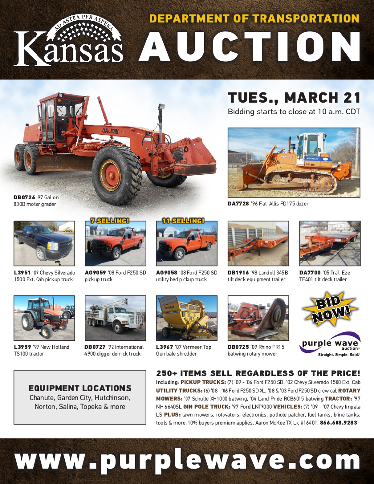 SOLD! March 21 Kansas Department of Transportation Auction |
