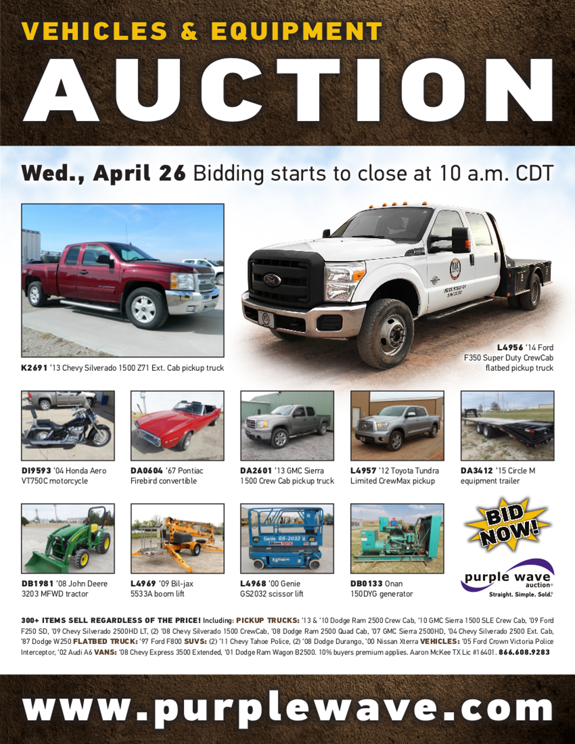 SOLD April 26 Vehicles and Equipment Auction