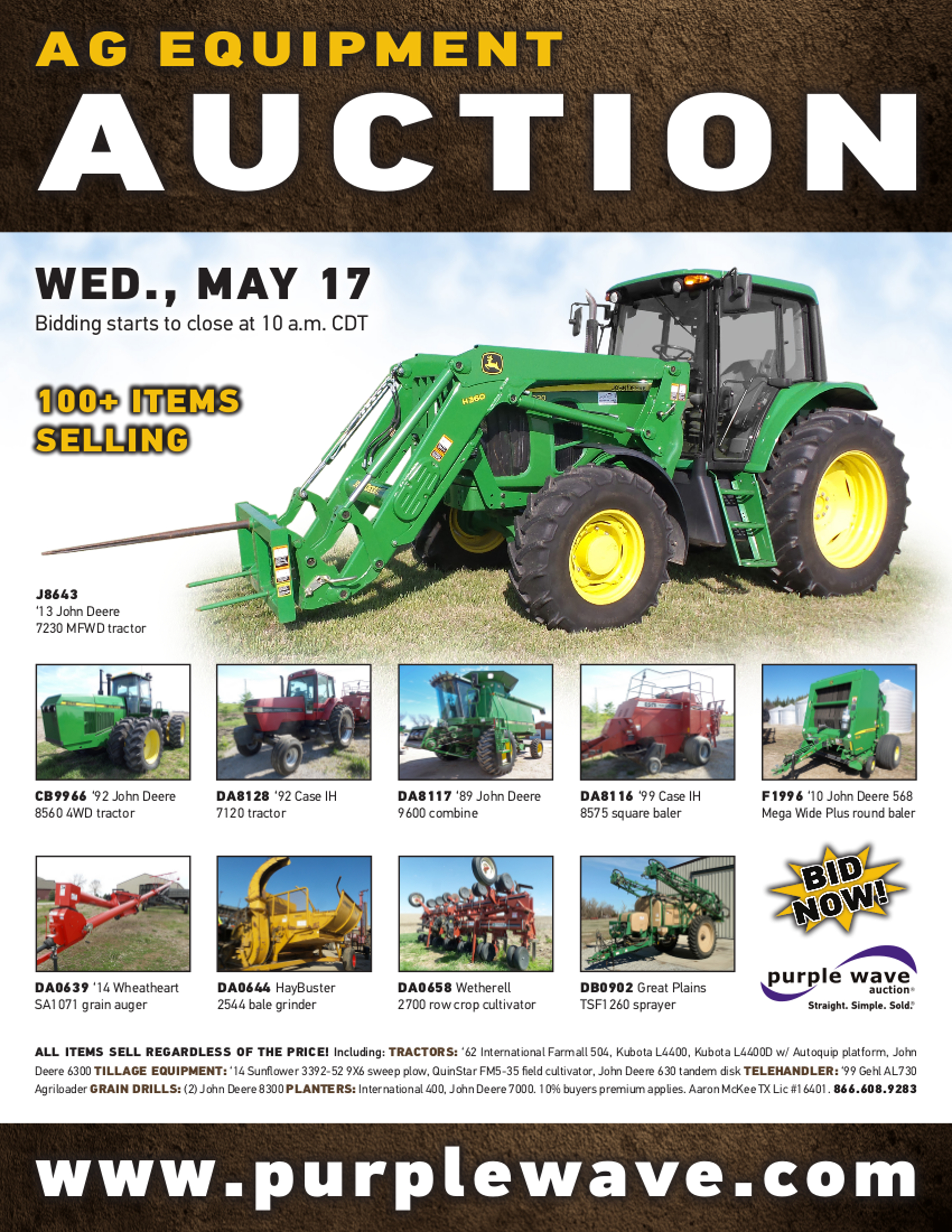 Blank Invoices Template Sold May  Ag Equipment Auction  Purplewave Inc Small Business Invoices Excel with Where To Buy A Receipt Book Pdf Auction Flyer Invoice Terms And Conditions Sample Pdf